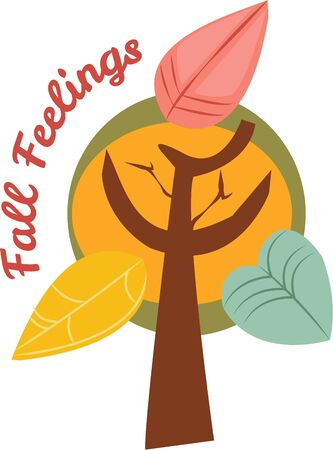 fall harvest: Use this autumn tree for a fun seasonal bag. Illustration