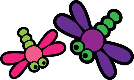 buddies: Use these cute dragonflies for a little girls shirt. Illustration