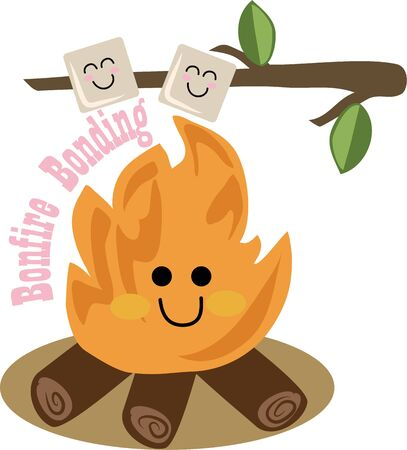 marshmallows: This campfire will be perfect for a little campers shirt. Illustration
