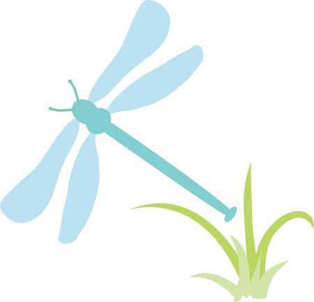 grass blade: Use this dragonfly for a bathroom towel set. Illustration