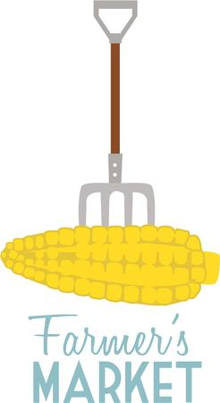 Fresh corn from the farm is great to eat. Stock Illustratie