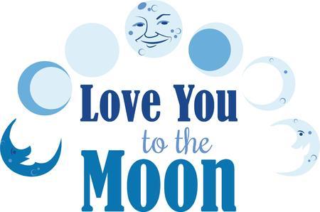 De fasen van de maan op een fantastisch ontwerp op uw t-shirt.