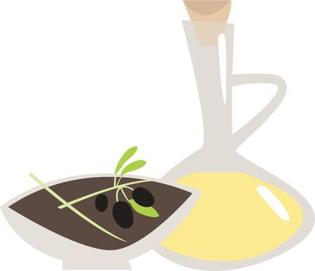 aceite de oliva virgen extra: Dale sabor a la decoraci�n de su cocina y ropa de chef con este dise�o en ropa de cocina, abrigos cocinero, delantal y sombreros. Vectores