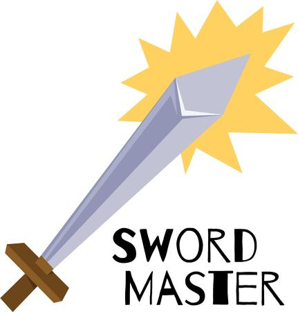 Wield your imagination and use this powerful and elegant sword design for a boys room decor!