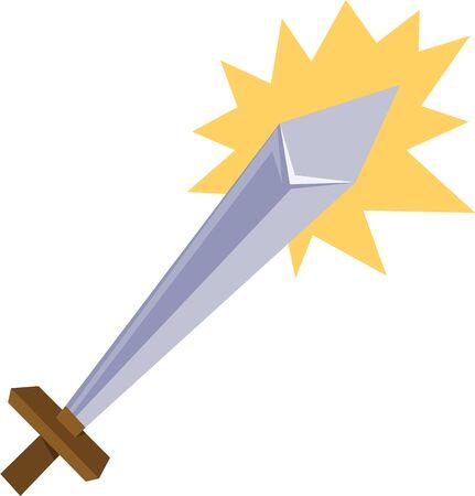 Hanteer je fantasie en het gebruik van deze krachtige en elegante zwaard ontwerp voor room decor van een jongen! Stock Illustratie