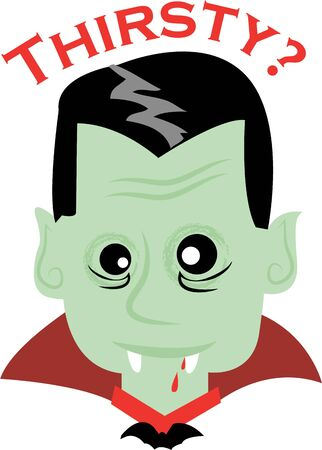 childs: Use this vampire for a childs spooky Halloween shirt.
