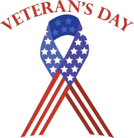 Use this patriotic ribbon to support our vets on shirts and bags. Çizim