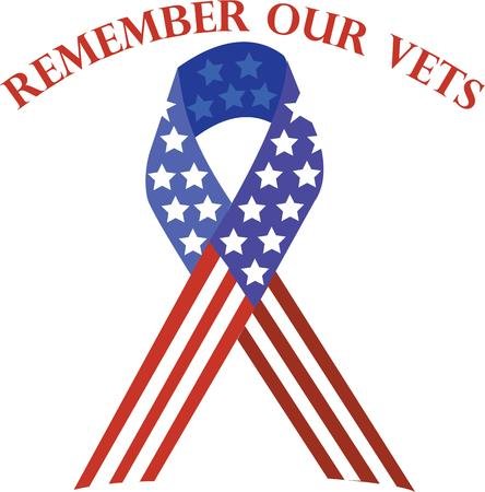 Use this patriotic ribbon to support our vets on shirts and bags. Stok Fotoğraf - 42758303