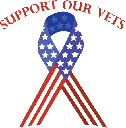 Use this patriotic ribbon to support our vets on shirts and bags. Stok Fotoğraf - 42758309