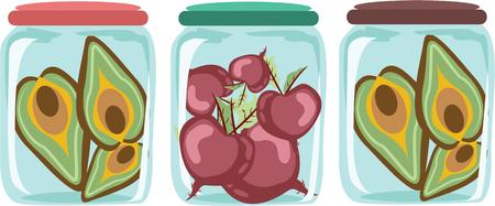 canning: Use these jars for a fun canning linen. Illustration