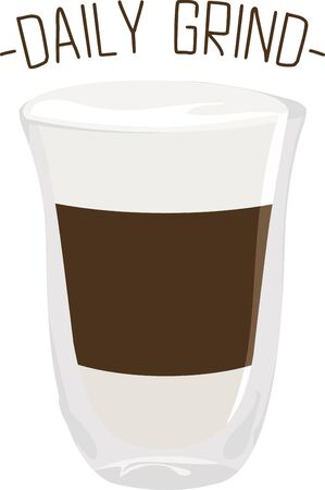 shot glass: Use this macchiato shot for a baristas shirt or apron. Illustration