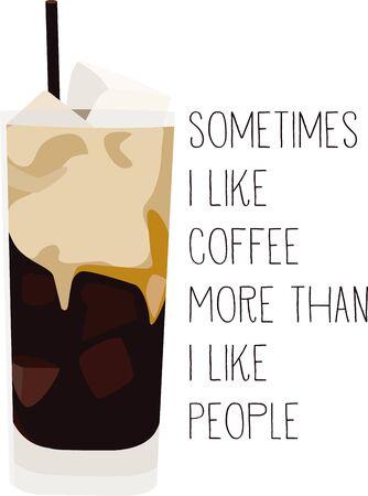このアイス コーヒーをバリスタのシャツやエプロンの使用します。  イラスト・ベクター素材