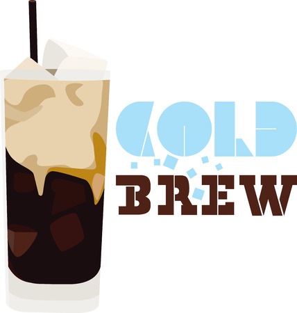 Use this iced coffee for a barista's shirt or apron. Иллюстрация