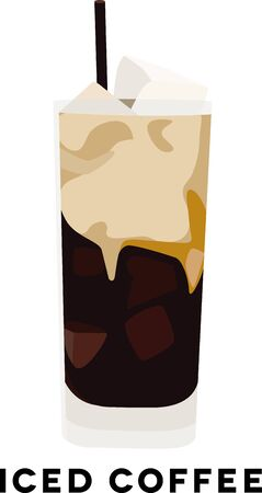 arabica: Use this iced coffee for a baristas shirt or apron. Illustration