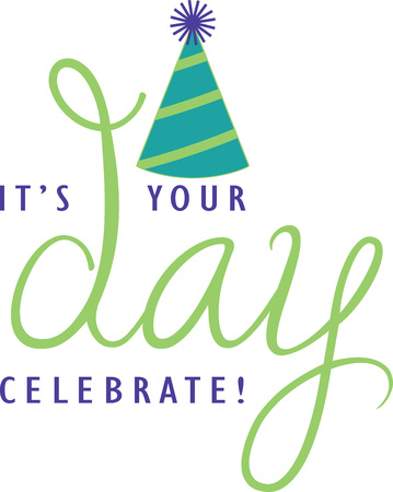 Celebrate Birthday with this Embroidery design on a shirt or hat.