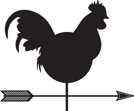 rooster weather vane: Use this Weather man in your farm for weather forecast.  Perfect on a shirt. Illustration