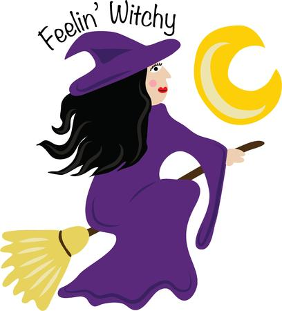 Use this flying witch for a Halloween shirt for a girl.