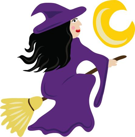 crone: Use this flying witch for a Halloween shirt for a girl.