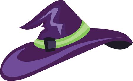 Use this witch hat for a Halloween shirt for a girl. Illustration