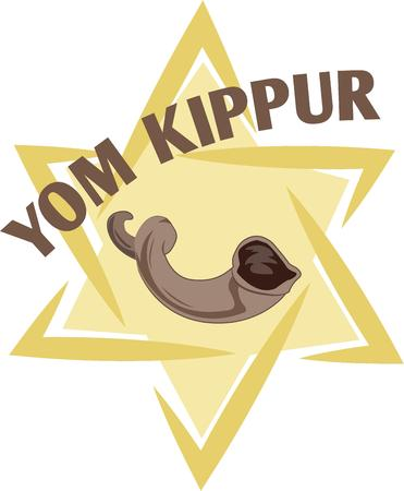 Celebrate Yom Kippur with this beautiful star and horn on holiday shirt.