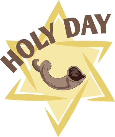 yom kippur: Celebrate Yom Kippur with this beautiful star and horn on holiday shirt.