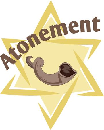 atonement: Celebrate Yom Kippur with this beautiful star and horn on holiday shirt.