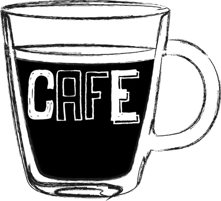 caf: Use this caf cup for a baristas shirt or apron.