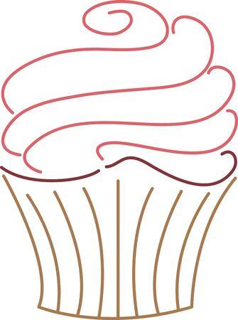 이 맛있는 컵케익으로 주방 앞치마를 장식하십시오. 일러스트