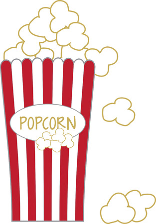 concession: Whether at home or a concession stand, use this popcorn design for a fun apron and cap.