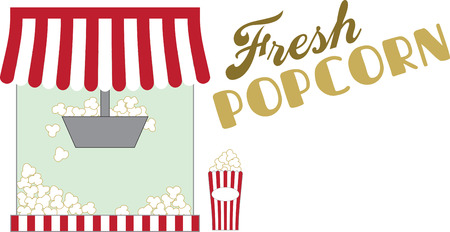 Whether at home or a concession stand, use this popcorn design for a fun apron and cap.