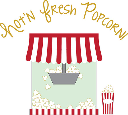 buttered: Whether at home or a concession stand, use this popcorn design for a fun apron and cap.