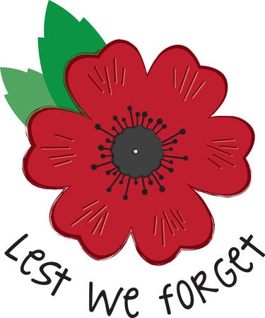 remembrance: Use this poppy on the collar of a shirt or blouse to remember the sacrifice and bravery of veterans on Memorial Day and Veterans Day.  Illustration