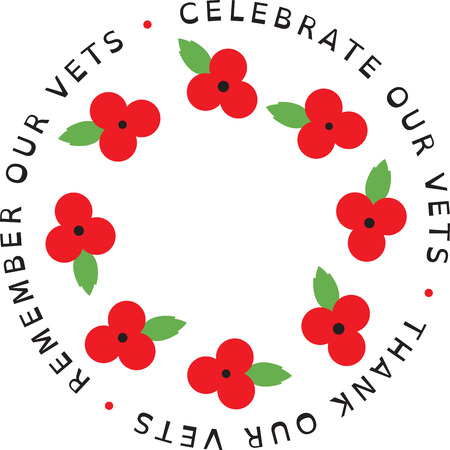 Use this poppy on the collar of a shirt or blouse to remember the sacrifice and bravery of veterans on Memorial Day and Veteran's Day. Stock Illustratie