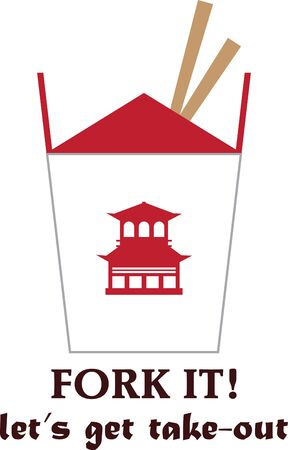chinese takeout box: Use this Asian food box on an apron and napkins.