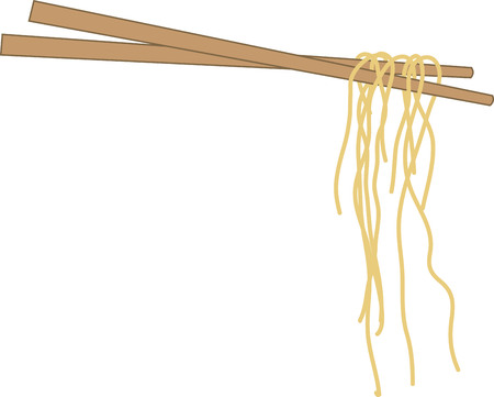 Use these chopsticks on napkin and linen set. Illustration