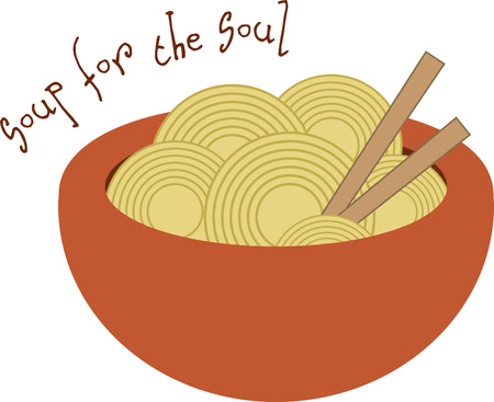 Use this bowl of ramen to decorate placemats and napkins.