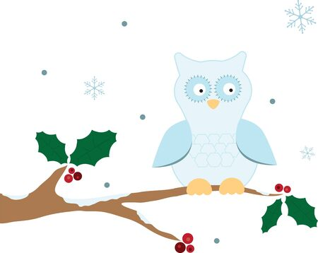 fall harvest: This winter owl will look festive on a Christmas ornament for your tree. Illustration