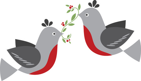 turtle dove: Use these two turtle doves for a festive baby bib this Christmas.