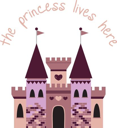 citadel: A little girl will enjoy this fantasy castle on her shirt or a bed set. Illustration