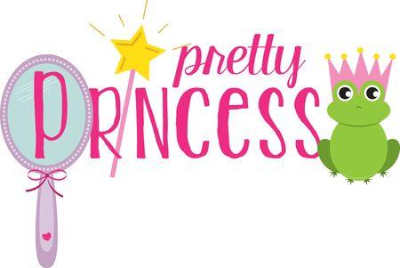 kleine meisjes: Gebruik deze prinsestiara voor overhemd een klein meisje. Stock Illustratie