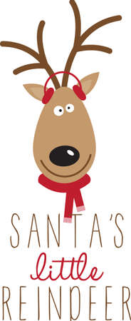 Use this Santas reindeer for a festive sweater or childs dress. Çizim