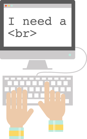 IT 전문가의 셔츠에는이 컴퓨터와 키보드를 사용하십시오.