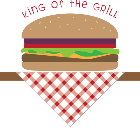 Use this burger on a waiter shirt or cap.
