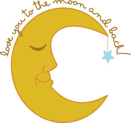 Une lune endormie sera parfaite sur un pyjama pour un bébé endormi ou une maman endormie.