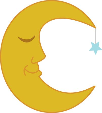 mama: A sleepy moon will be perfect on a pair of pajamas for a sleepy baby or a sleepy mama.