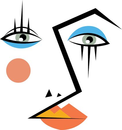 Use this abstract face for a make-up artist's bag. Illustration