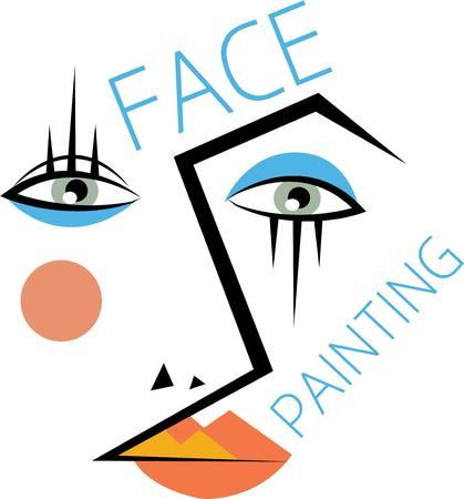 Use this abstract face for a make-up artists bag. Ilustrace