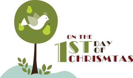 Użyj kuropatwę gruszą na świąteczny śliniak to Boże Narodzenie. Ilustracja