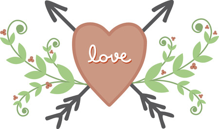 Use this lovely heart for a towel border. Иллюстрация