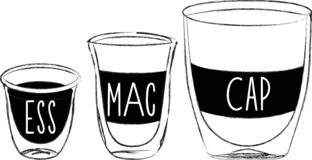baristas: Use these coffee cups for a baristas shirt or apron. Illustration